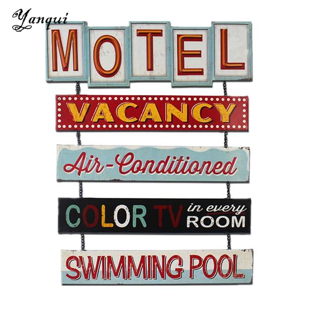 motel vacature airconditioning zwembad metalen borden vintage interieur voor bar huis club vintage muur tin plaque