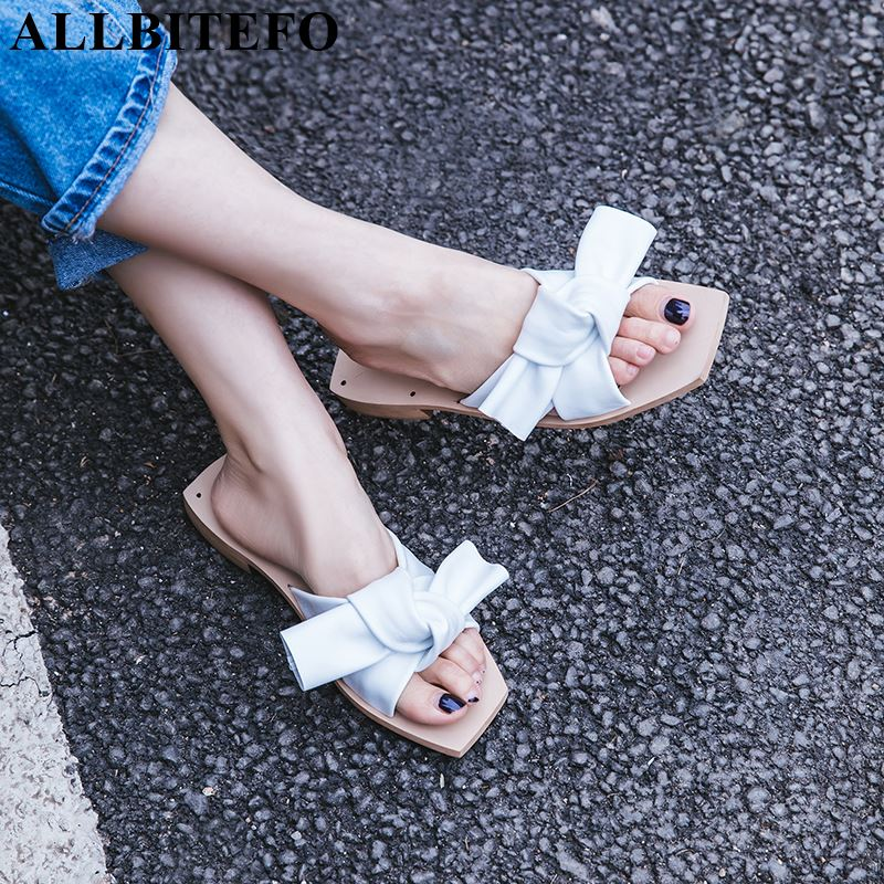 ALLBITEFO genuine leather women flip flops low heels women shoes new summer fashion outside solid butterfly