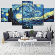 Modern Wall Art Decor 5 Piece Abstract Artistic Starry Sky And House Modular Picture Home Decorative Living Room Canvas Painting