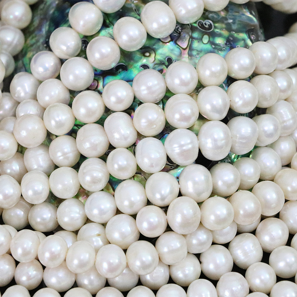 9-10mm natural freshwater white round pearl for women fit diy Fashion necklace bracelet jewelry loose beads 15inch B1394