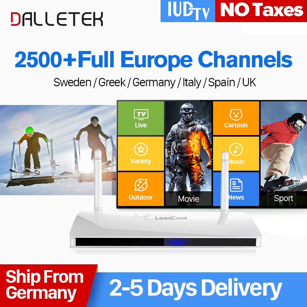 IPTV Europe Leadcool Android IP TV Box 1 Year IUDTV Code Dalletektv Iptv Sweden UK Italy Portugal French Europe Arabic IPTV Box best french iptv dalletektv leadcool smart tv android iptv box europe swedish arabic 2500 channels 1 year iudtv iptv stb box