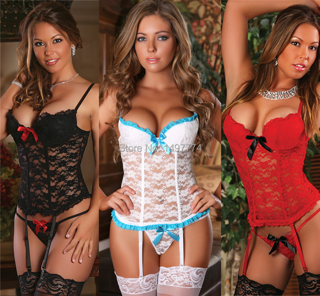 2016 Lace Bustier and G String Set Plus Size Sexy Lingerie Black/Red/White Lace Corset