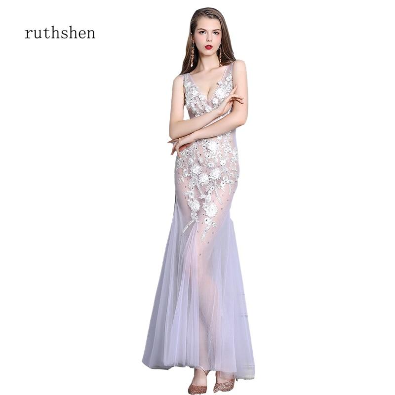 ruthshen Gauze   Dress     Prom     dresses   2019 Sexy New See Through Long Evening   Dresses   Appliques Tulle   Dresses   Vestido longo