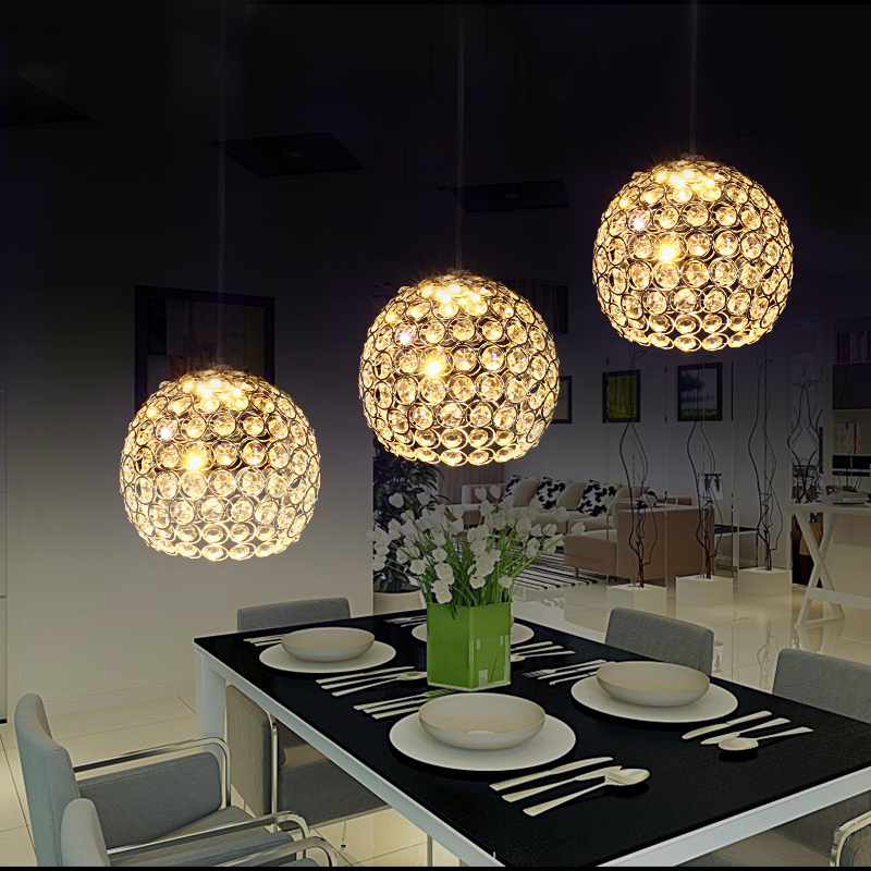 Modern brief crystal dining room pendant light sphere suspension drop lights crystal lamp for bar coffee cafe haomerModern brief crystal dining room pendant light sphere suspension drop lights crystal lamp for bar coffee cafe haomer