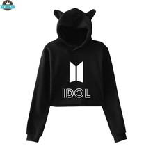 BTS I Dol Cute Cat Ears Women Hoodies Sweatshirts Korea K-pop New Style Sexy Navel 2018 Hip Hop Cat Ears Hoodies Women Clothes(China)