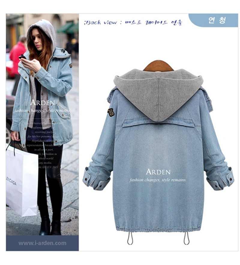 Hooded Drawstring Trends Jackets 2016 Fashion Autumn Winter Pockets Two Piece Outerwear Women Long Sleeve Buttons Blue Coat  (7)