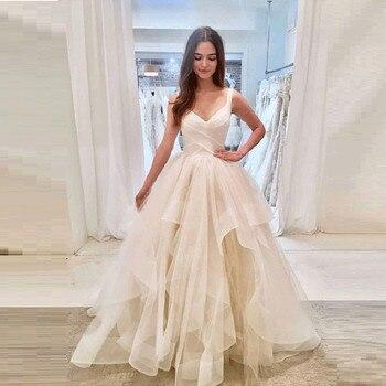 cuello v sin mangas vestidos de boda simple de tul vestido de novia