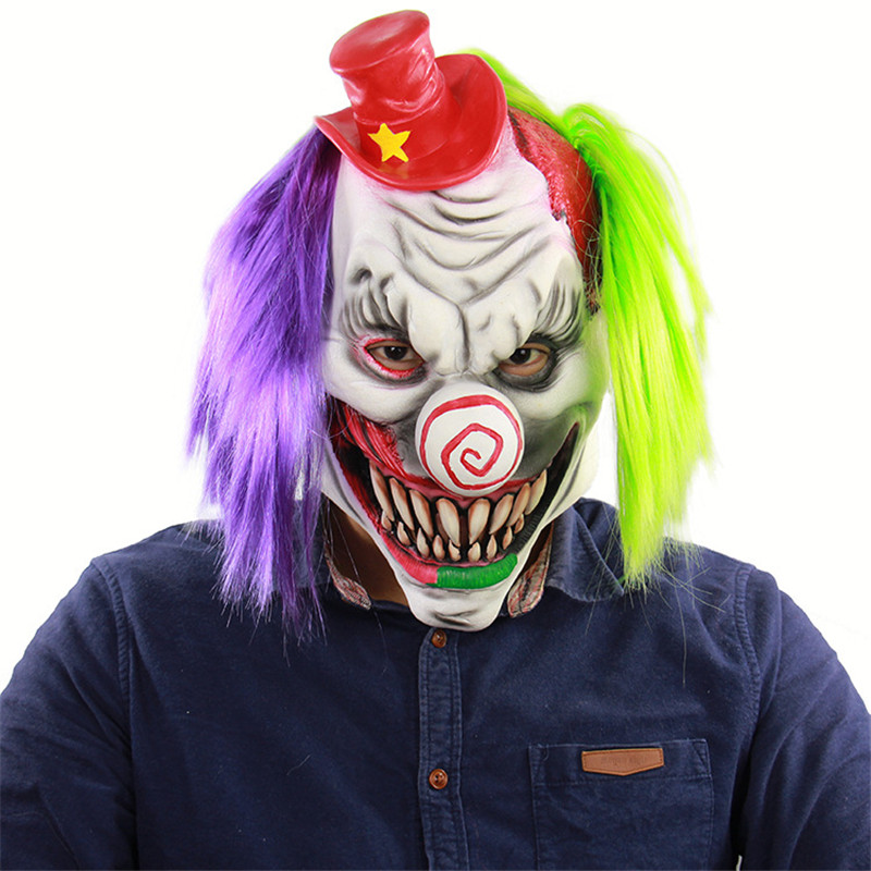 Eraspooky Halloween Costume Creepy Clown Masks Latex Adult Costume Props for Party Horror Scary Joker Mask with Wig Cosplay