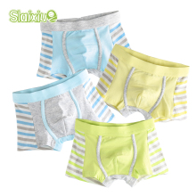 4 Pcs/lot SLAIXIU Soft Organic Cotton Kids Underwear Boys Shorts Panties Baby Boy Boxers Stripes Children's Teenager Underwear