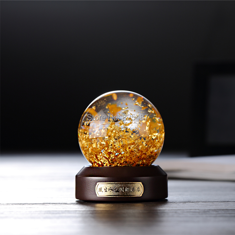 Goud Vlokken luxe Sneeuw Bal Souvenir Water Glas Globe 24K Goud Folie Beste Cadeau voor Business Rijke Feng Shui bal Sneeuw Bal - 5