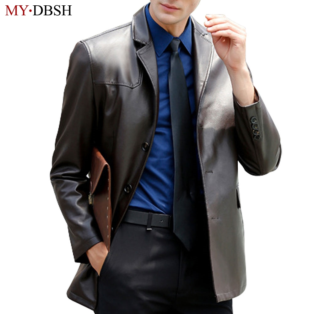 MYDBSH Brand PU Leather Jackets Men Slim Fit 2018 New Style Casual Male Leather Suits Luxury Sheepskin Leather Jacket For Man