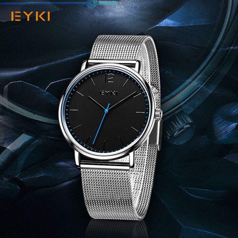 EYKI Brand Ultra Thin Men Watches Simple Milanese Weave Stainless Steel Mesh Strap Quartz Watch Male Business Watch Relogio new eyki brand couple watches tables fashion formal stainless steel strap waterproof quartz watch ladies watch men s watches