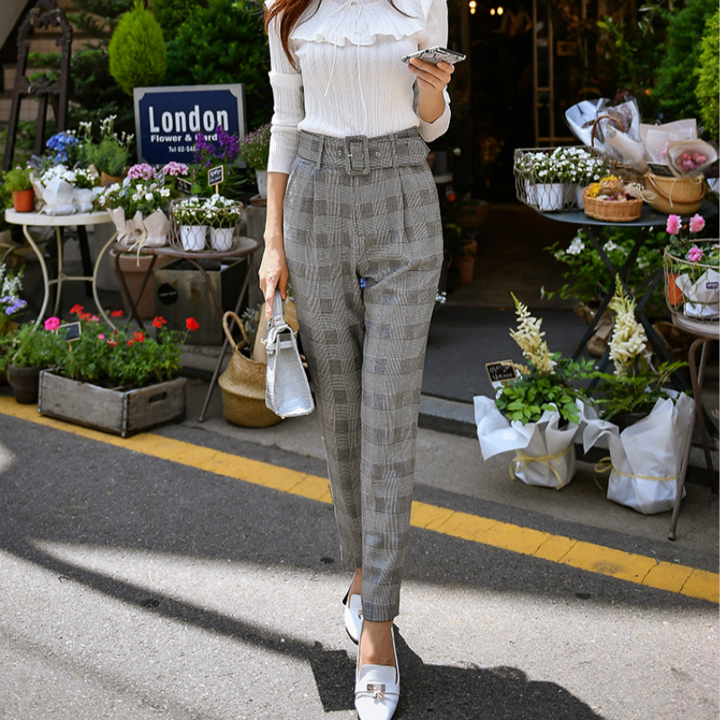 Dabuwawa Autumn Women Suit Pants 2018 New Grey Plaid Long Pencil Pants Office Lady High Waist