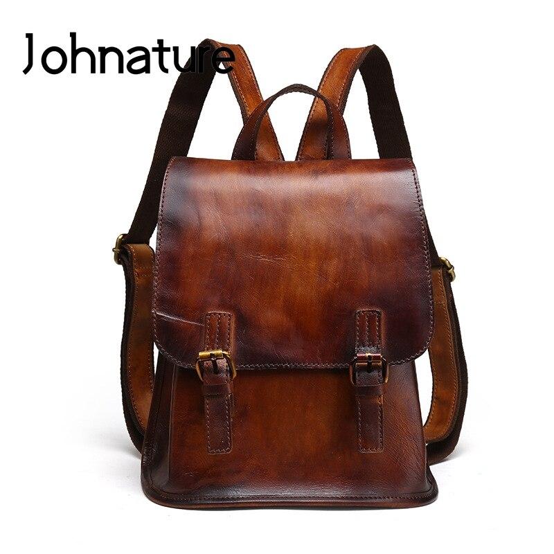 Johnature 2019 New Retro Genuine Leather Solid Arcuate Shoulder Strap Women Small Backpack Teenage Girl Backpacks School Bag
