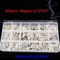 420 sztuk stałe 18 rodzajów naga OT UT złącze zestaw z pudełkiem cooper pierścień złącze furcate u-typ terminal zestaw