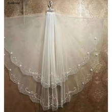 2 Layers White Ivory Elbow Length hand made bead Edge Wedding Bridal Veil with Comb