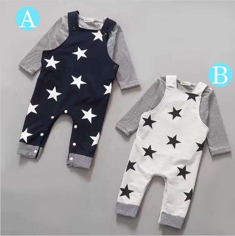 Retail 2016New 2pcs Long sleeve + suspenders baby boy girl clothes cotton100% Autumn long sleeve straps star infant boy clothing retail new arrival100