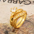 Free Shipping Gorgeous 24K Yellow Gold Plated Clear Round CZ Woman's Ring Set No Nickel