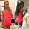 Sexy Halter Neck Bandage Jumpsuits Skinny Sleeveless Short Rompers For Swimming Playsuits Summer Beachwear LX166