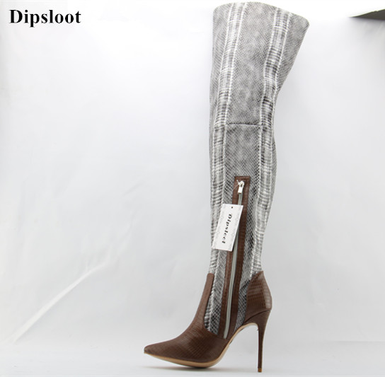Dipsloot New 2017 Sexy Pointed Toe Stiletto High Heels Dress Shoes Woman Zipper Over-the-knee Boots Snakeskin Thigh High Boots hot runway sexy women boots stretch silk pointed toe stiletto high heels over the knee boots jersey thigh high boots shoes woman