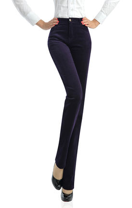 free shipping spring autumn corduroy straight women casual women pants high waist full length plus size