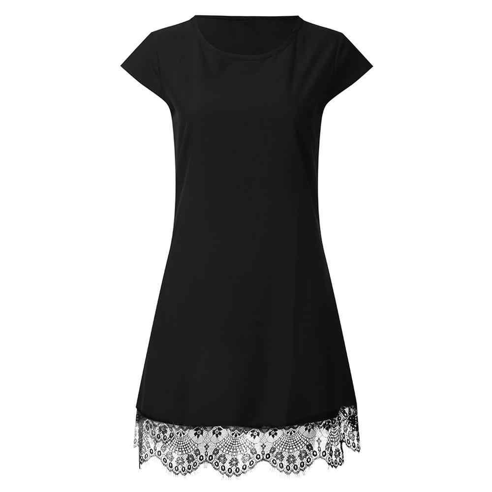 Robes Sexy 2019 été femme soirée nuit noir blanc robe à manches courtes Patchwork dentelle robe Vestidos de festa livraison directe c