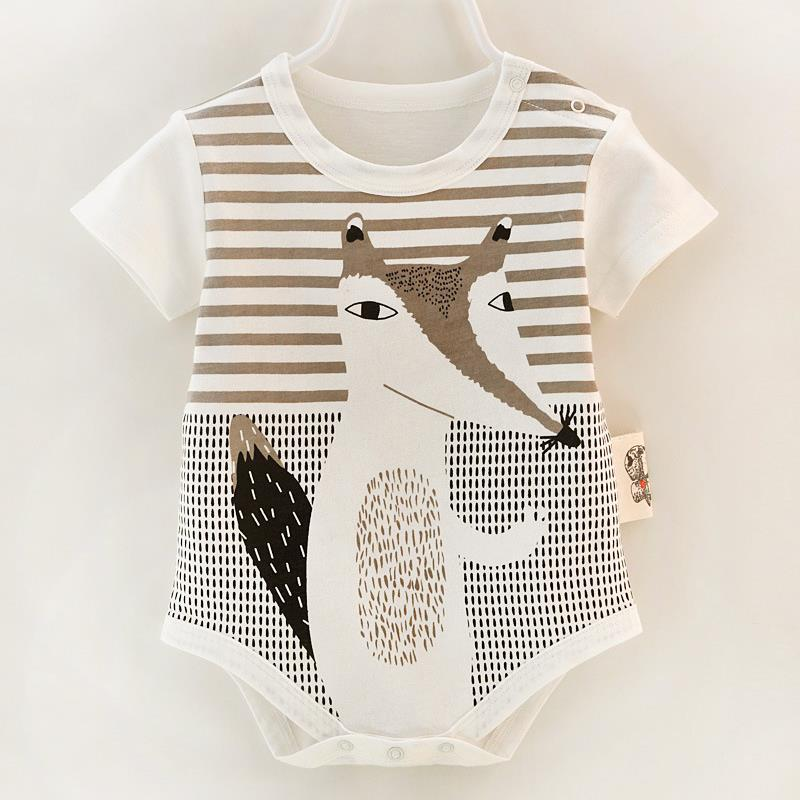 New Toddler Baby Boys Girls Newborn Infant Jumpsuit Bodysuit Outfits 0-9M Short Sleeve Fox Printed Cotton Clothes Kid One-Pieces