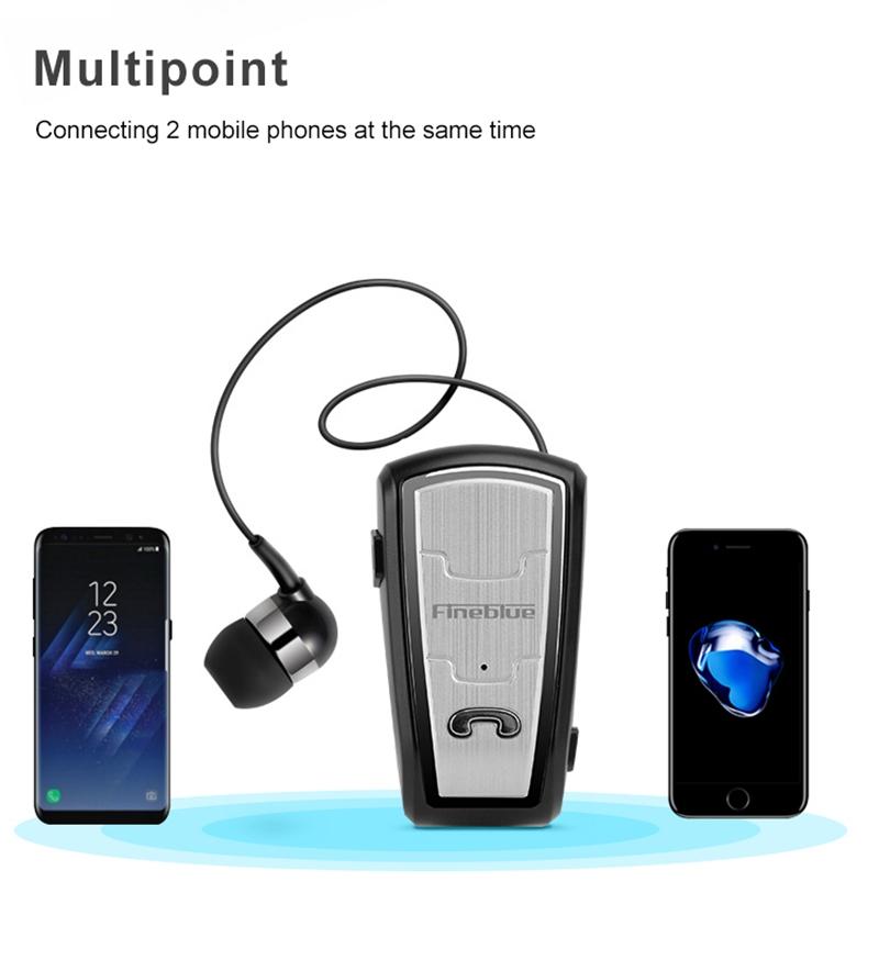 Original FineBlue FQ208 Clip-on Bluetooth Headset Anti-lost Retractable Wireless Earphone Clip Handsfree Headphone With Micr (29)