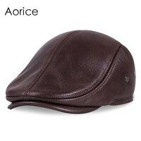 HL042 New Design Men S 100 Genuine Leather Cap Newsboy Beret Cabbie Hat Golf Hat