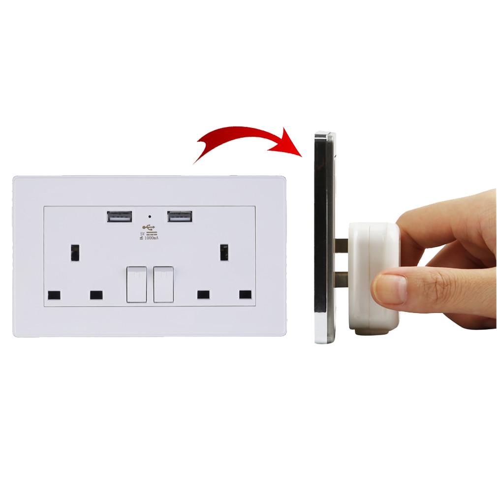 Hot 2 Fach Steckdose Dual USB Port Outlets Platte Panel Netzteil Uk-stecker P25