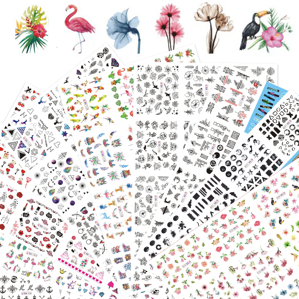 Nail-Stickers-Set Tattoos-Sliders Water-Transfer-Decals Manicure Geometric Floral Girl