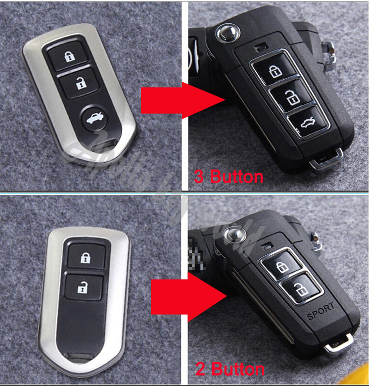 2014 Brand New ! 3 Buttons/2 Buttons Modified Flip Folding Remote Key Case Shell For Toyota Camry Prado Highlander Yaris Vios