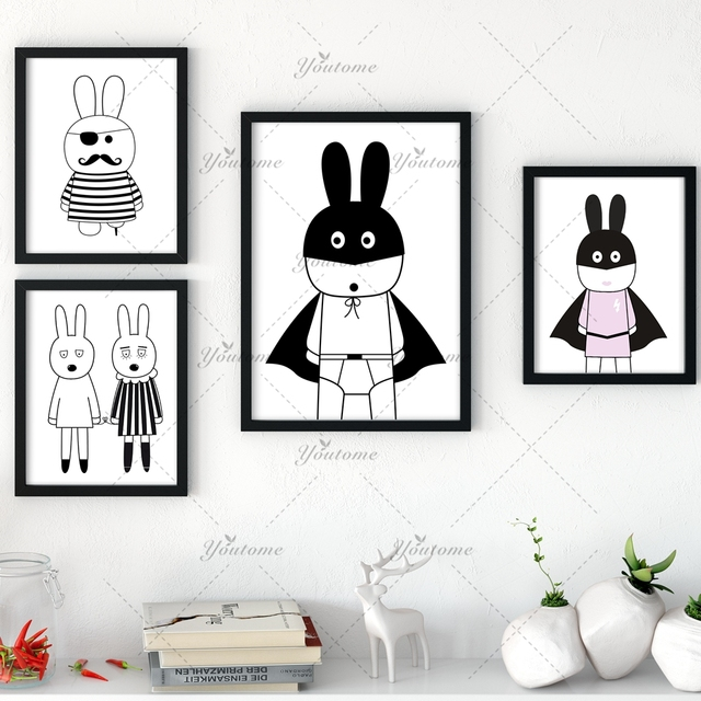 New decorative pictures poster art for kids room baby painting black and white batman bunny