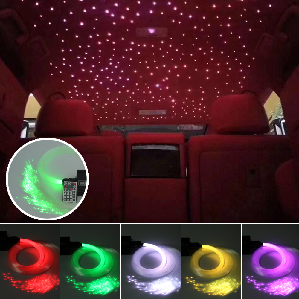 Car Use DC12V 16W RGBW Fiber Optic Star Ceiling Kit Lights 335strands*(0.75mm+1mm+2mm)*3M Optical Fiber +28Key Remote Controller