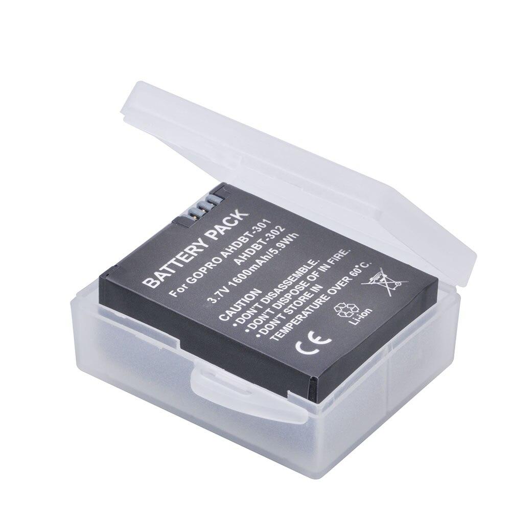 1 Pc 1600 mAh GoPro AHDBT 301 Li-ion Batterie AHDBT-301 AHDBT301 GoPro HD HERO3/3 + et GoPro AHDBT-201/AHDBT-301/AHDBT-302