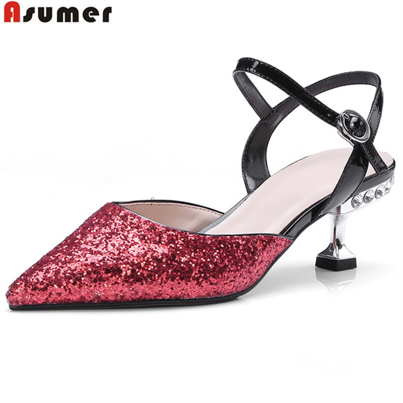 ASUMER big size 33-43 fashion summer ladies shoes pointed toe buckle bling elegant wedding shoes women high heels sandals lady big size 4 15 elegant summer glitter buckle strap soft pointed toe thin high heeled sandals shoes women pumps 5colors girls