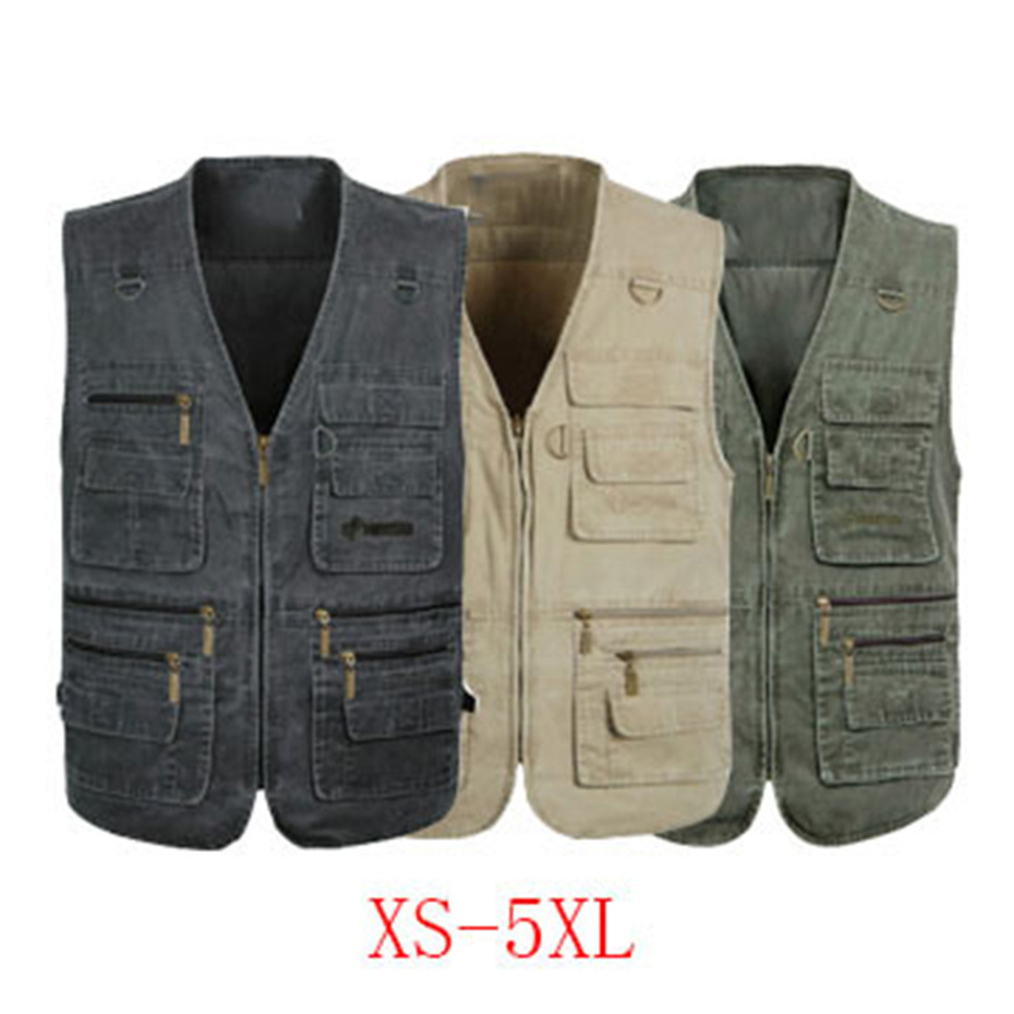 ZOGAA Men Baggy Jacket Tactical Vest Men Multi pockets Photography Cameraman Vest Plus Size 6XL 7XL Men Casual Reporter Vest