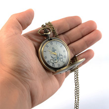 Anchor Printed Pocket Watch Roman Numeral Quartz Fob Watches with Necklace Chain for Man and Woman Gift fashion cool superman silver color quartz pocket watch necklace woman hour fob watches clock arabic number super man dial cute