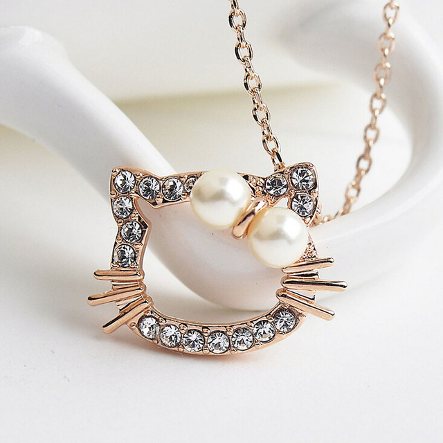 Hello Kitty Pendant ALP Italina R.A Top Quality Cute Hello Kitty Pendant Necklace For Girl Children  Jewelry Anti-allergy