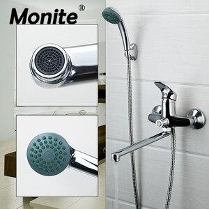 Image 1 - Monite krom cilalı duş musluk banyo banyo musluğu musluk bataryası ve duş başlığı başlığı duş musluk seti duvara monte musluk seti