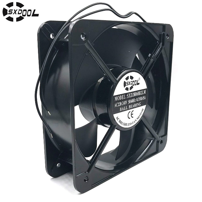 SXDOOL SXD20060B2LM 20CM 200*200*60 MM 20060 220V AC dual ball bearing axial industrial cooling fan sunon sf 8025 at ac 220 axial flow fan 2082 hbl industrial cooling fan 2 wires 80 80 25mm double ball bearing