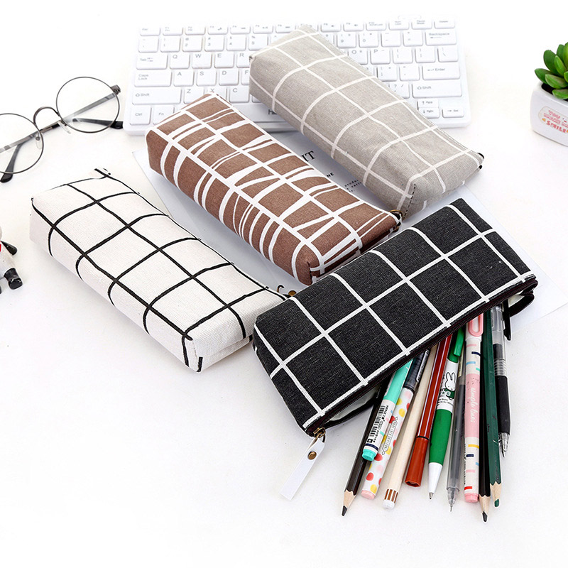 Pencil Case School Striped Grid Canvas Pencil  Bag Box For Kids Boys Gift Office Supplies Pencilcase Simple Cute Stationery
