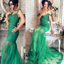 Straps Mermaid Evening Dresses With Beaded Lace Appliques See Through Prom Dress