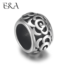 4pcs Stainless Steel Drum Bead Charms Rose Flower 8mm Large Hole for Leather Jewelry Bracelet Making Metal Beads DIY Supplies