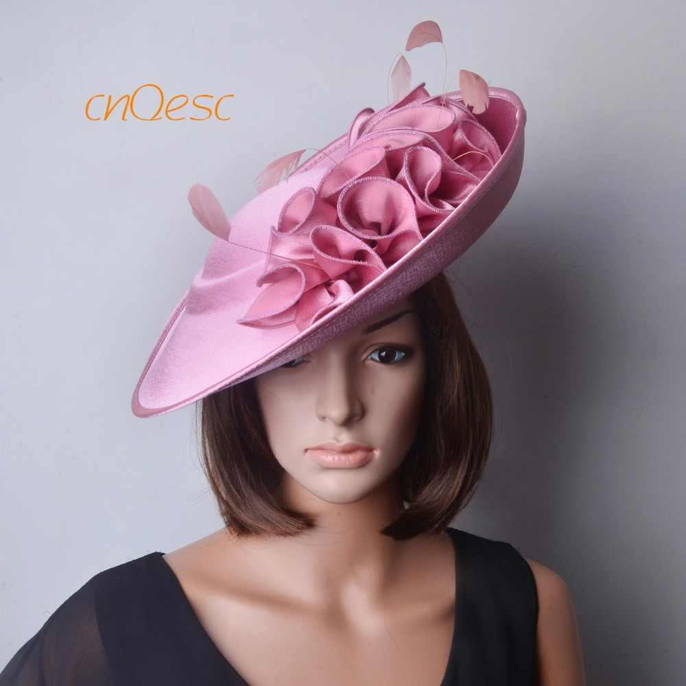 NEW ARRIVAL! Blush pink Large Matte satin fascinator sinamay hat Formal dress hat for Wedding Races.FREE SHIPPING