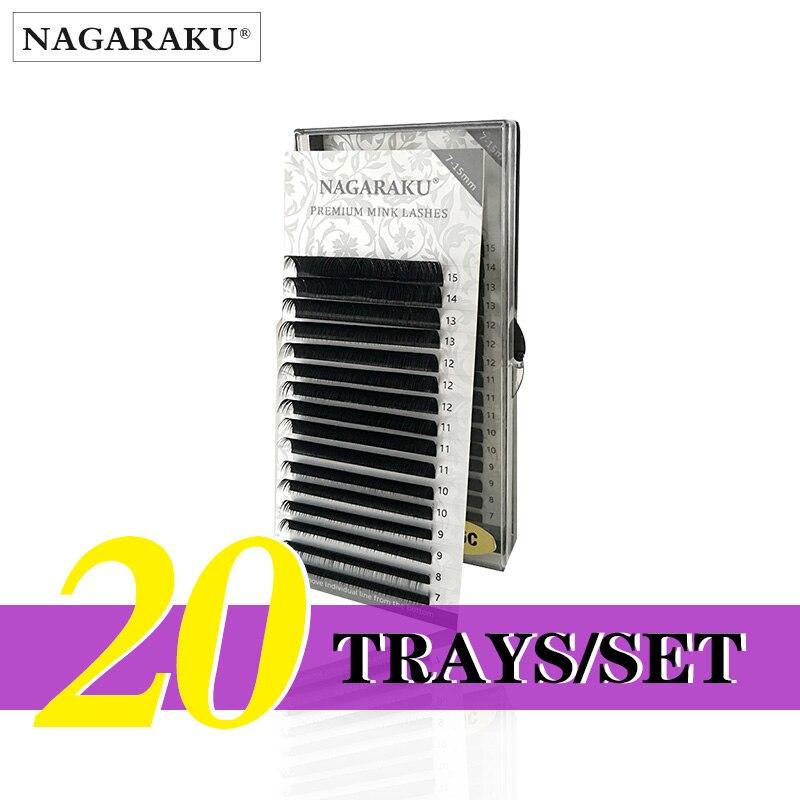 NAGARAKU  20 Trays/set  J B C D Curl  Length 7-15mm Mixed In One Tray Eyelash Extensions Individual Faux Mink Eyelash Lashes