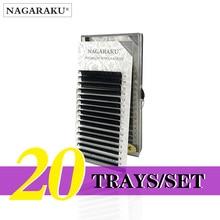 NAGARAKU  20 Trays/set  J B C D Curl  Length 7 15mm Mixed In One Tray Eyelash Extensions Individual Faux Mink Eyelash Lashes