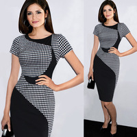 The New European And American Classic Plaid Stitching Slim Was Thin Crescent Stretch Pencil Skirt Package