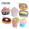 2016 Creative Cute Cartoon Coin Purse Key Chain For Girls Leather Icecream Cake Popcorn Kids Zipper Change Wallet Card Holder