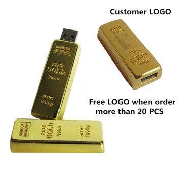 Hot Sale Customer LOGO USB Flash Drive  bullion gold bar USB Flash Drive U Disk 4GB 8GB 16 GB 32 GB flash drive Pendrive